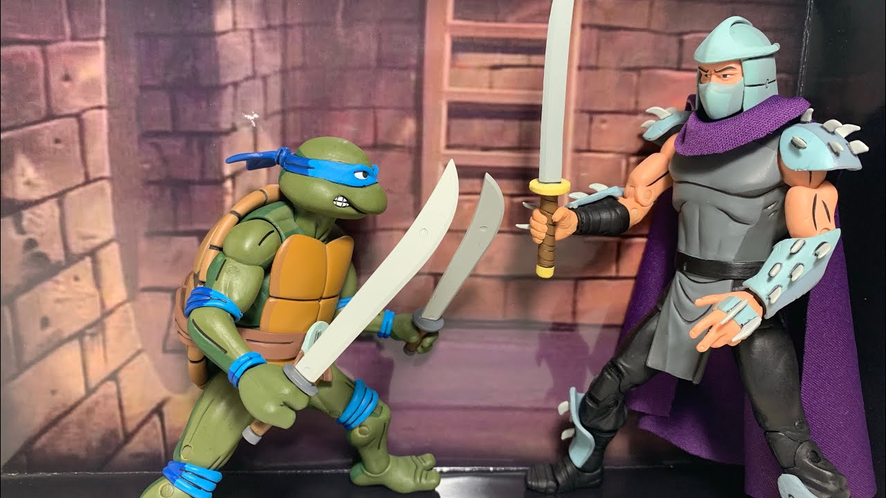 Teenage Mutant Ninja Turtles Cartoon Leonardo Vs Shredder 2-Pack Action Figure