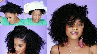OMG! UNCLOCKABLE Wash N' Go   How to Transform Natural Hair with Clip-Ins 2019 (Better Length)