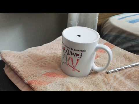 How to make holes in a ceramic tea cup for indoor planting easily in 2 minutes