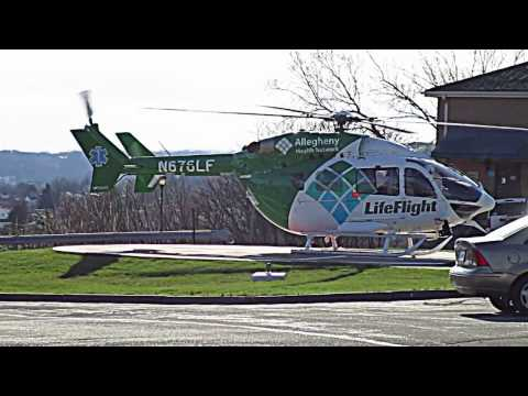 EC-145 (MBB Kawasaki BK-117) Helicopter. Life Flight Pittsburgh. Fly Over, Engine Start, Take Off!