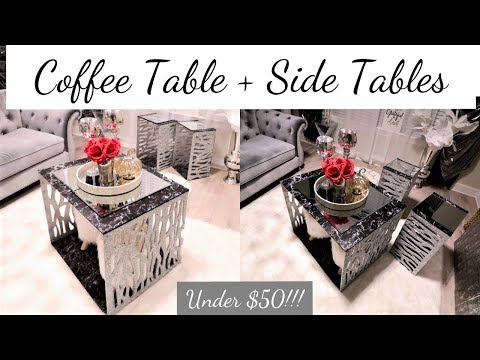 DIY FAMILY SIZE COFFEE TABLE AND MATCHING SIDE TABLE SET LESS THAN $50!