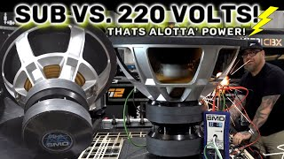 Woofer vs. 220volts. That's alotta' Power! Sparks, Flames, Smoke!