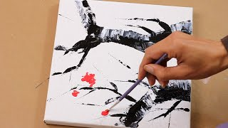 Plum Blossom Abstract Painting / Acrylic Painting Beginner/relaxing / Daily Art Therapy / Day #018