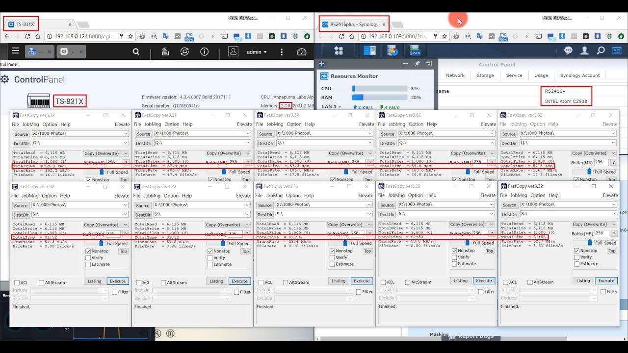QNAP TS-831X vs Synology RS2416+ : iSCSI write performance Test
