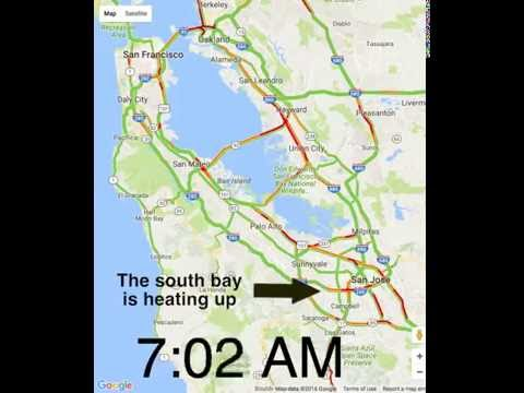 SF Bay Area Traffic Google Maps 1 Min Time Lapse (Sept 2016)