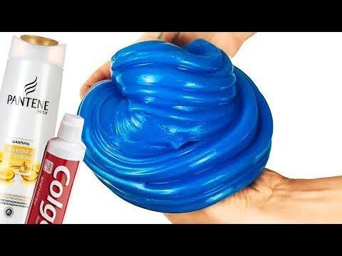 4 Лизуна из зубной пасты,шампуня Слайм без клея и с клеем