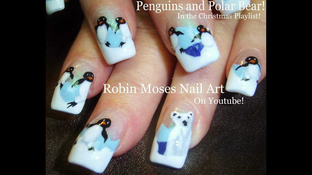 Polar Bear & Penguin Nails | Winter Nail Art Design ...