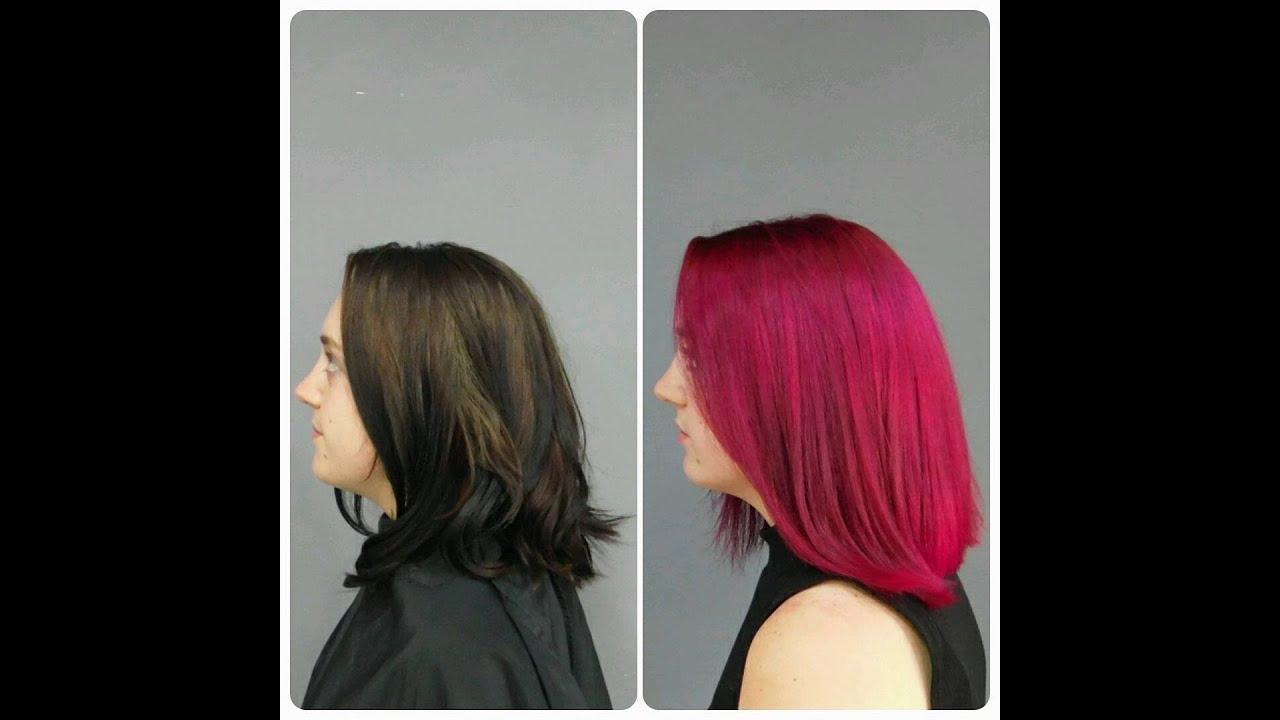 black diy hair red and pink