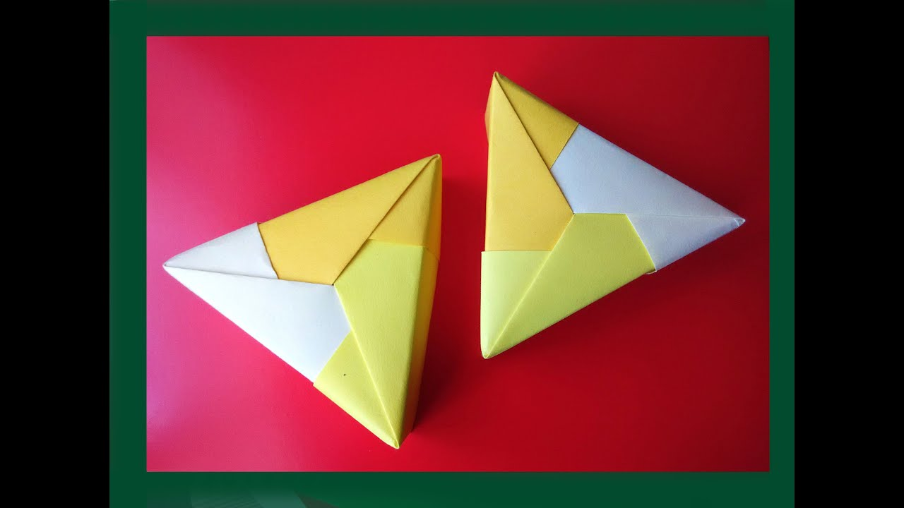 Easy origami Triangle gift box. Ideas for gifts. Треугольная