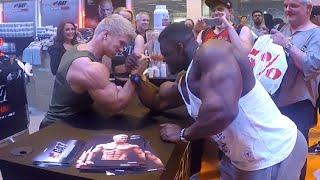 Bodypower Expo UK Blessing awodibu arm wrestle Zac Ansley thumbnail