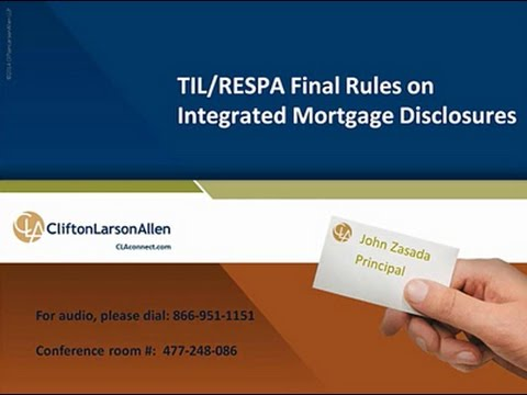 TIL/RESPA Final Rule on Integrated Mortgage Disclosures