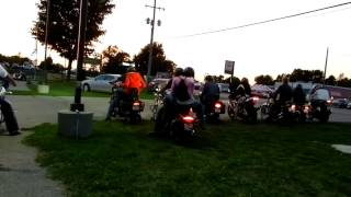 A group of bikes leaving bike night in Greenville MI.