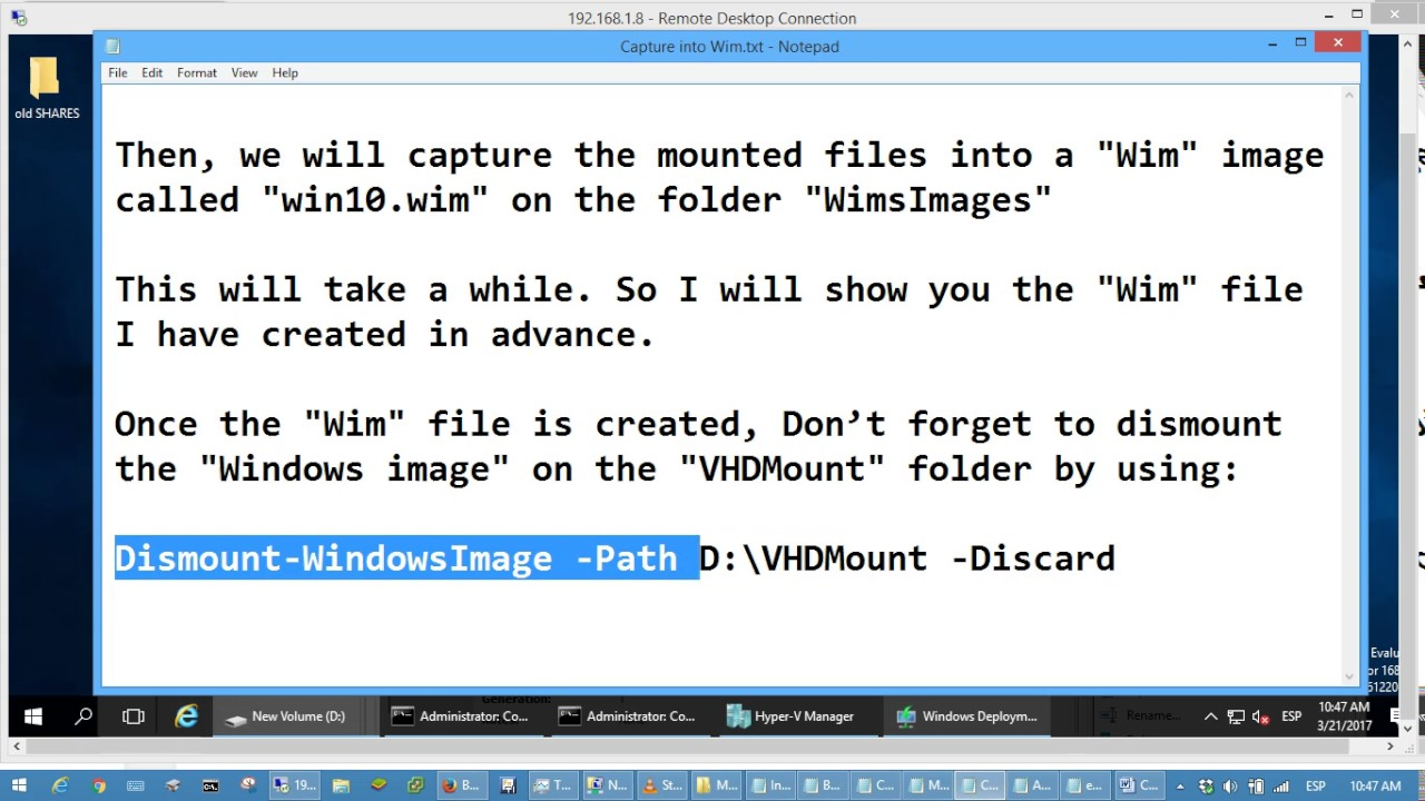 Creating customized master images for deployment with WDS, using Hyper-V  and Powershell
