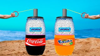 Experiment: Barrels of Coca Cola & Fanta VS Mentos. Two fantastic reactions!