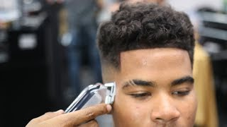 BARBER TUTORIAL: CURLY TOP | TIGHT MID FADE | EYEBROW CAT SRATCHES