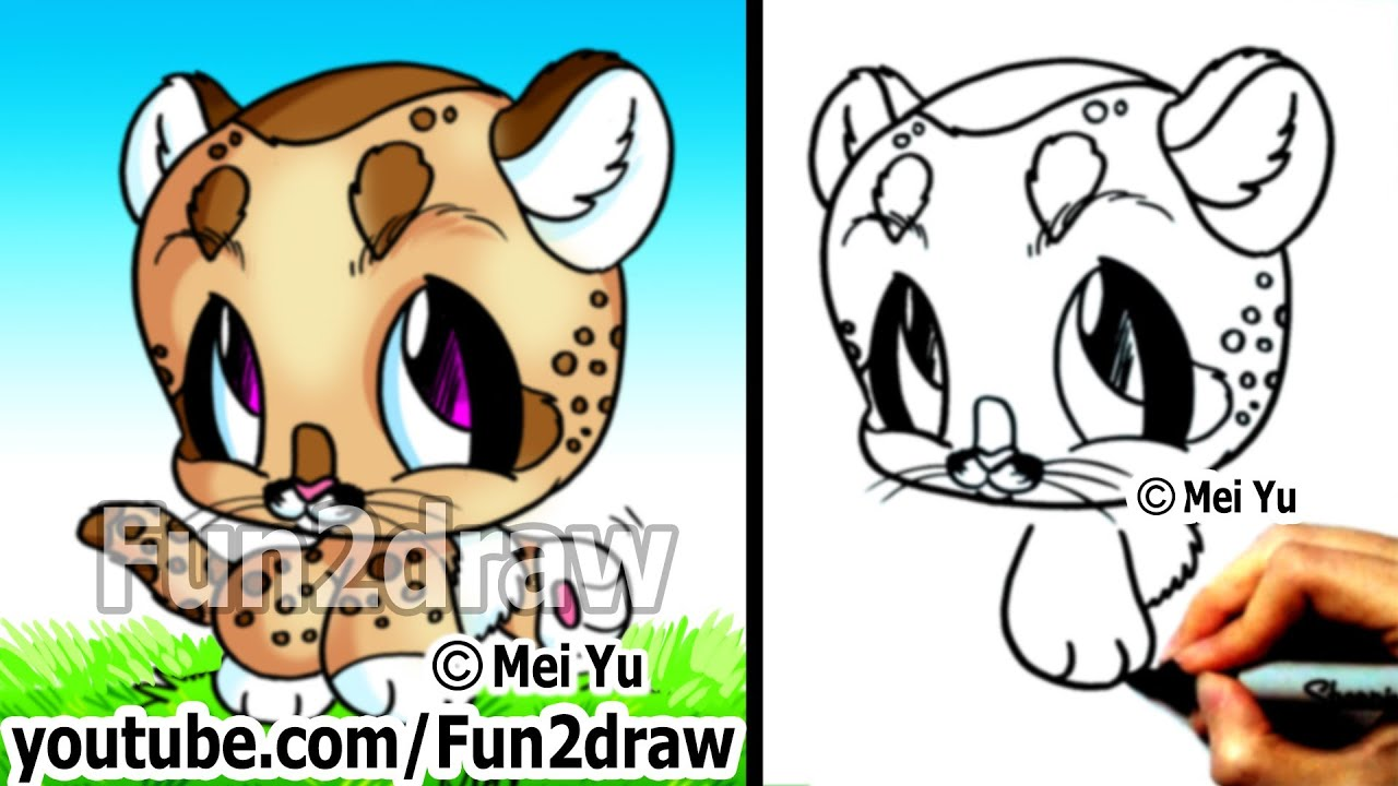 cute drawings baby mountain lion cougar easy drawing tutorial for beginners fun2draw youtube