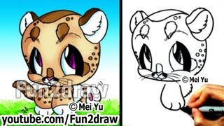 Cute Drawings - Baby Mountain Lion (Cougar) - Easy Drawing Tutorial for Beginners - Fun2draw