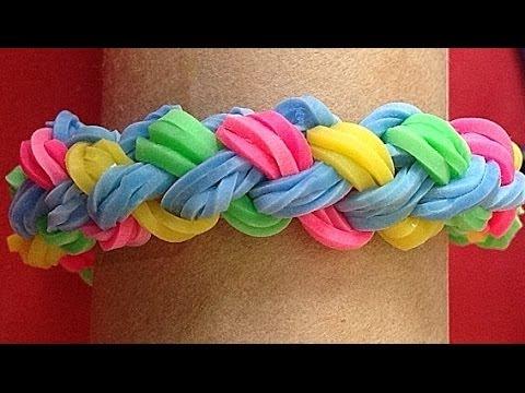 1338449d256a Pulsera de gomitas o ligas doble trenza. Rainbow loom bracelet