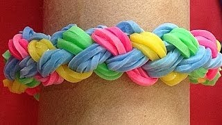 Repeat youtube video Pulsera de gomitas o ligas doble trenza. Rainbow loom bracelet