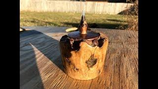 Wood turning a Lidded Oak Burl Box