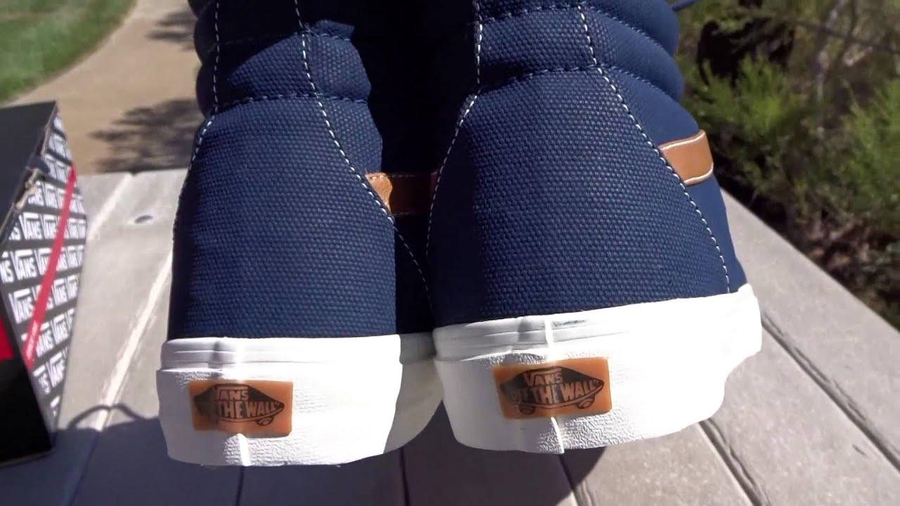 0992b1e1ce0288 Shoe Review  Vans Coated Canvas Sk8-Hi (Dress Blue - YouTube