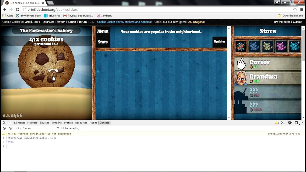 How to: cheat/hack at cookie clicker (auto-click & infinite cookies)