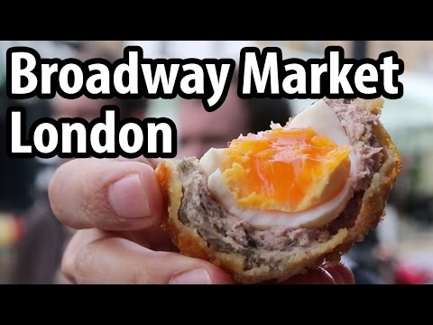 Eating at Broadway Market in London, England