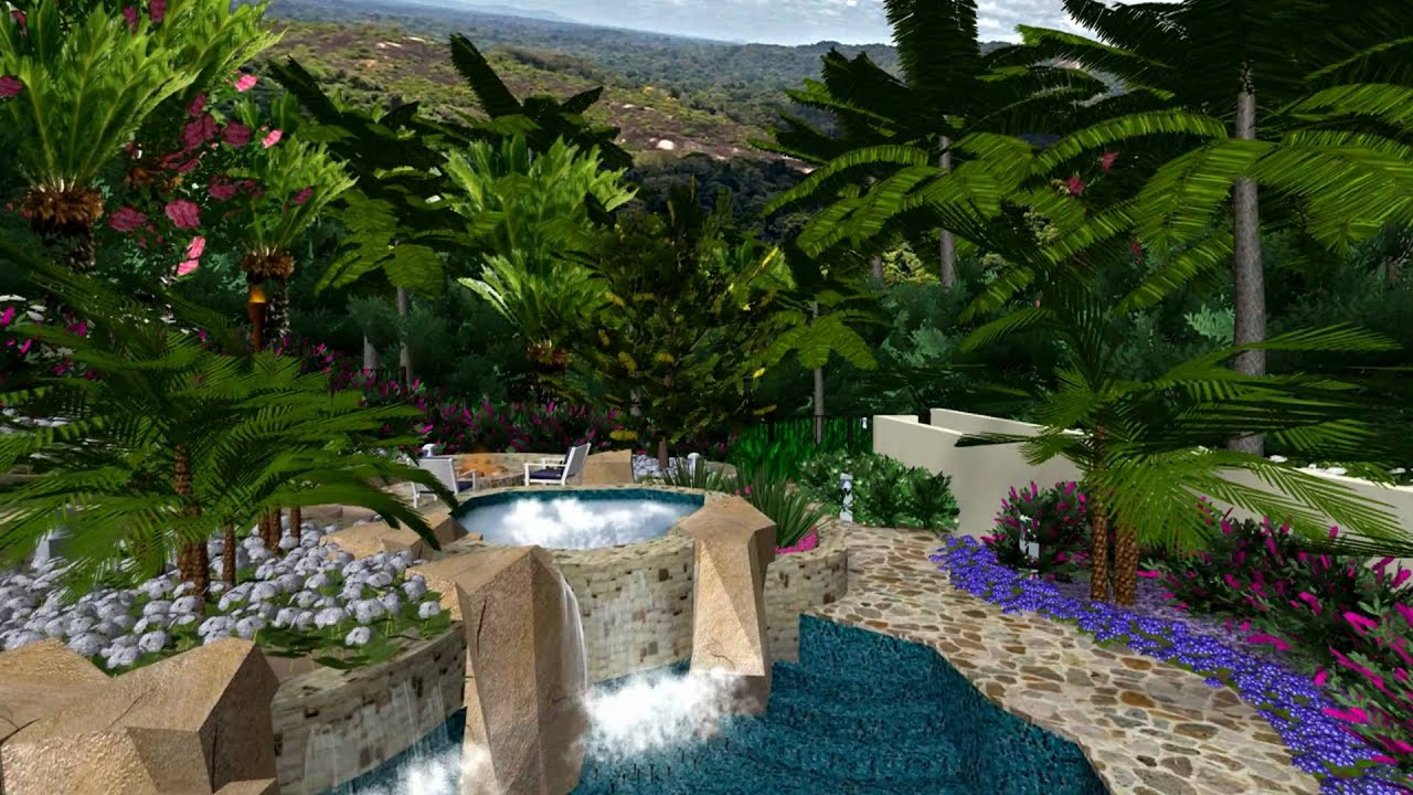 Virtual presentation studio tropical paradise in 3d for 3d garden designs