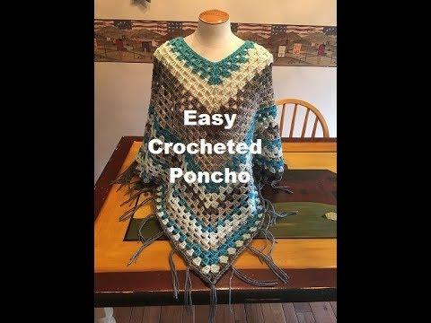 Easy Crocheted Poncho Tutorial - YouTube