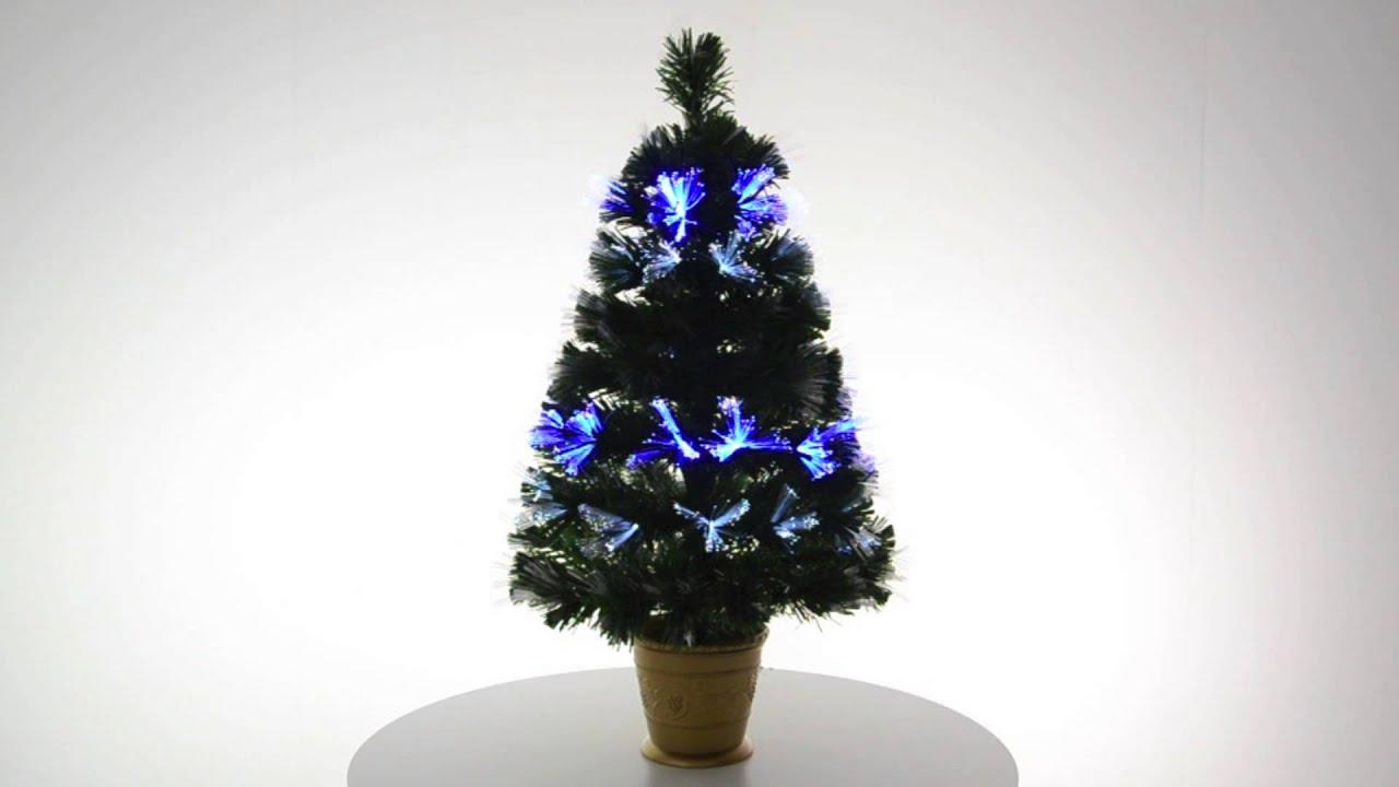 Mini Green Fibre Optic Christmas Tree With Gold Pot