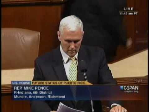 Congressman Pence speaks on the House floor regarding Puerto Rico