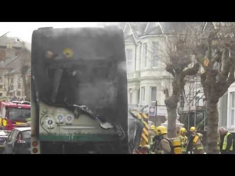Bus on fire in Sandown (Wight Island Radio News)