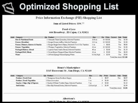 How grocery price information is exchanged for making a shopping - shopping list and prices