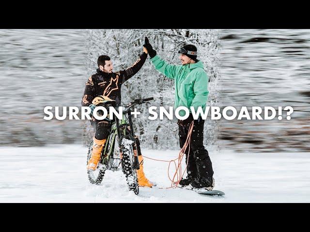 SURRON + SNOWBOARD = MEGA FUN!!