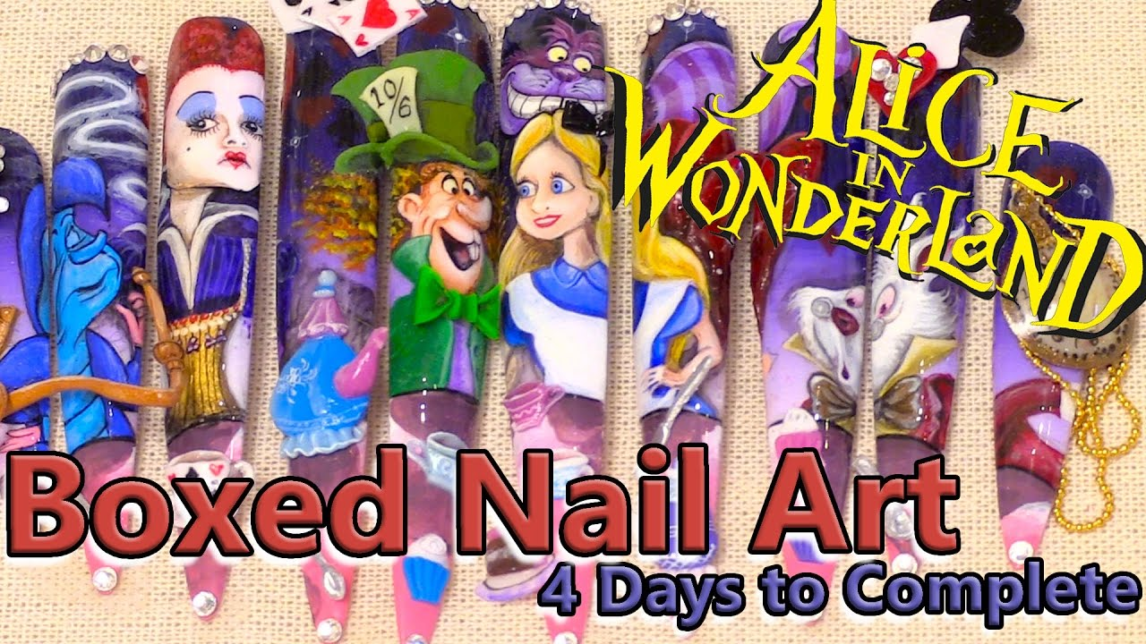 Boxed Nail Art Tutorial Alice In Wonderland Hand Painted 3d