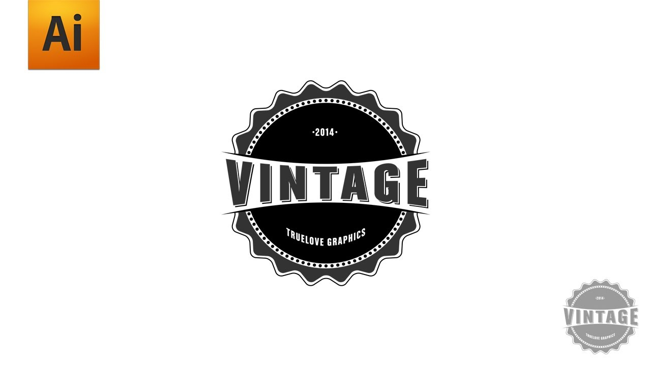 Adobe Illustrator Tutorial - Vintage Logo Graphic Design ... Vintage Style Logo Design