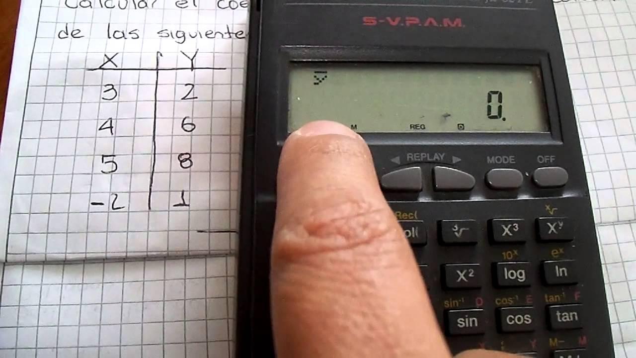Calcular coeficiente de correlación de pearson con calculadora.