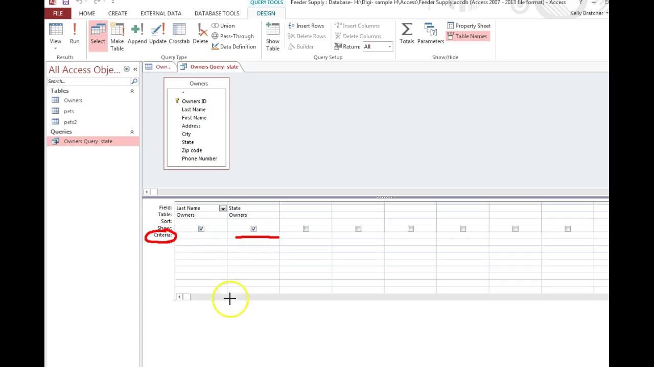 Access- Add criteria to a query & run