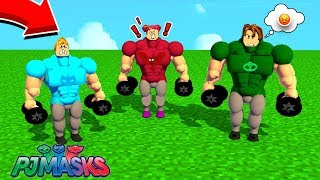CAT BOY, CORUJITA and LAGARTIXO WERE VERY STRONG IN ROBLOX (world record)-PJ MASKS