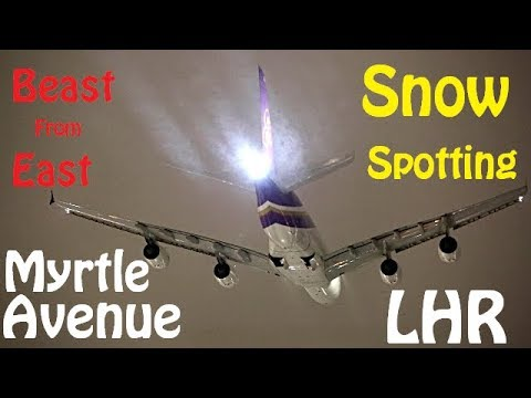 Beast from the East - Snow Plane Spotting from Myrtle Avenue at night with 09R Departures