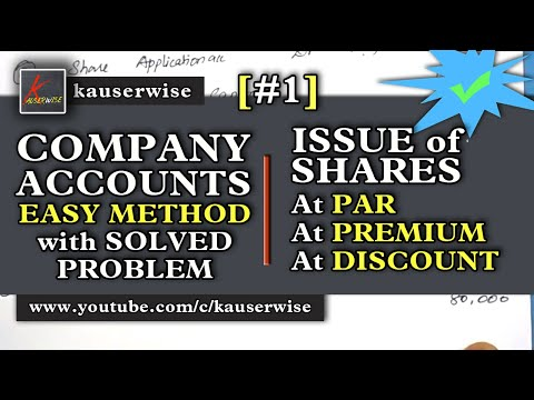 Company Accounts||Issue of Shares [#1]Introductions||Issue of Shares at Par||Premium||Discount
