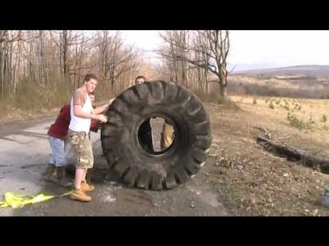 Rolling the big tire