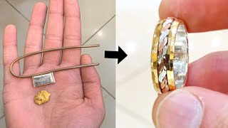 Making a Ring from Silver, Gold and Copper Wire!   Tricolor Ring Jewelery Making   How its made   4K