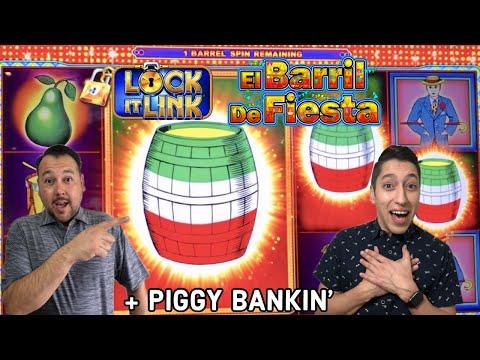 Loteria LOCK IT LINK Free Games RETRIGGER El Barril de Fiesta & Piggy Bankin wins