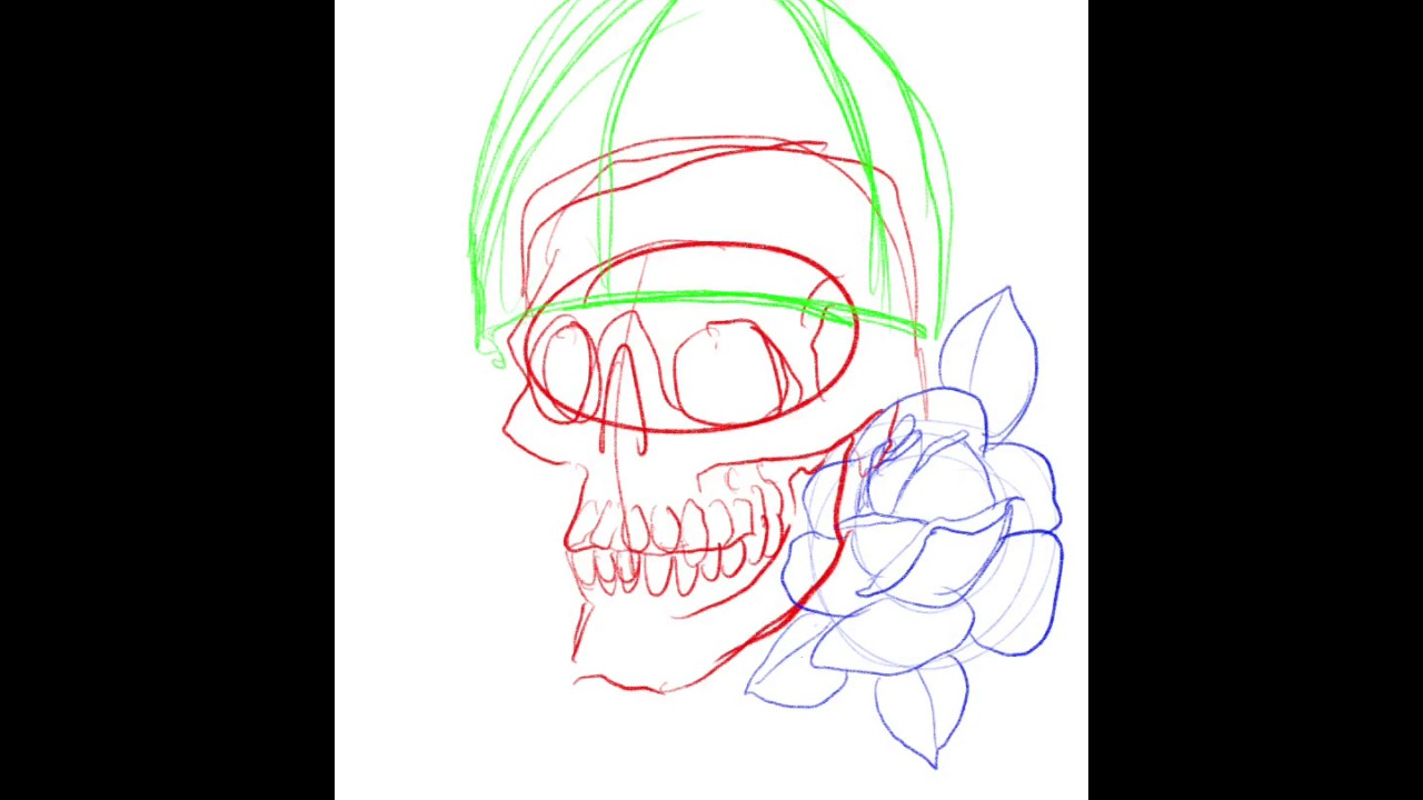 Drawing Straight Lines With Procreate : Traditional tattoo viking skull in procreate youtube