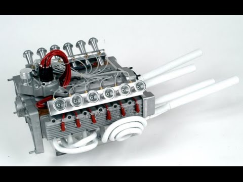 1/3 scale Ferrari 312 PB 12-cylinder engine run - YouTube