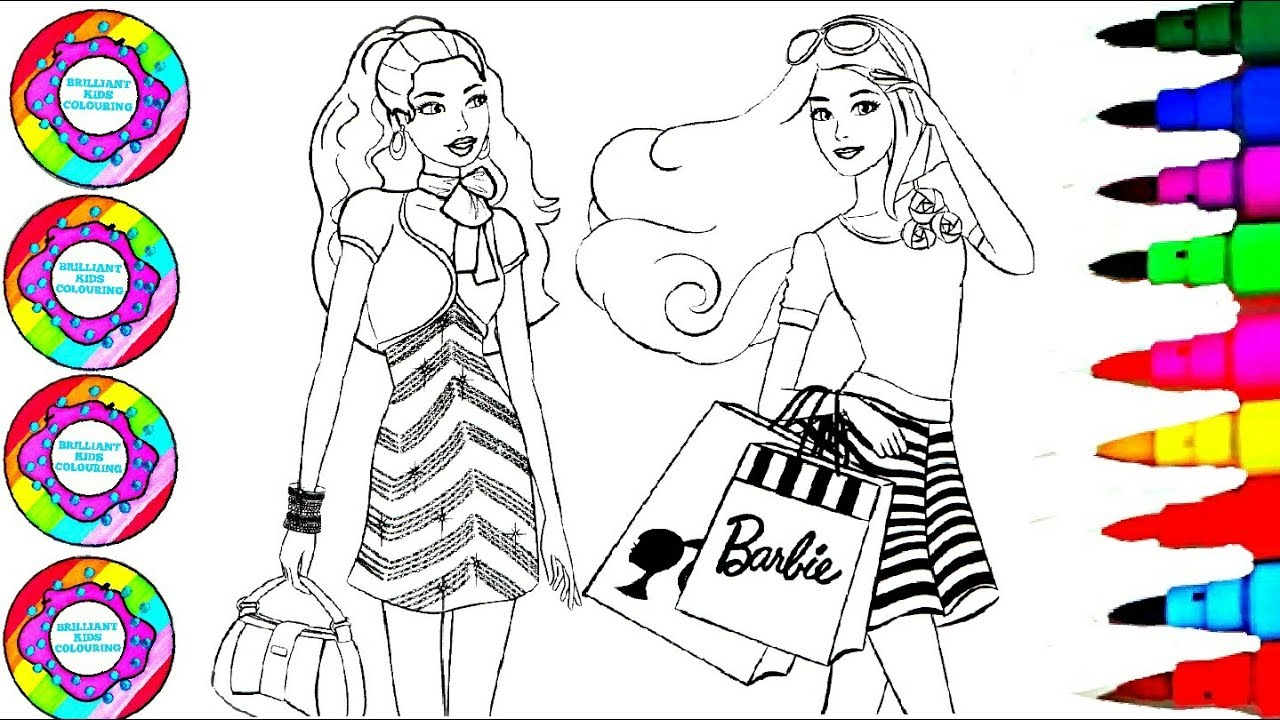 Drawing and Colouring Barbie with Rainbow Gemstones ...