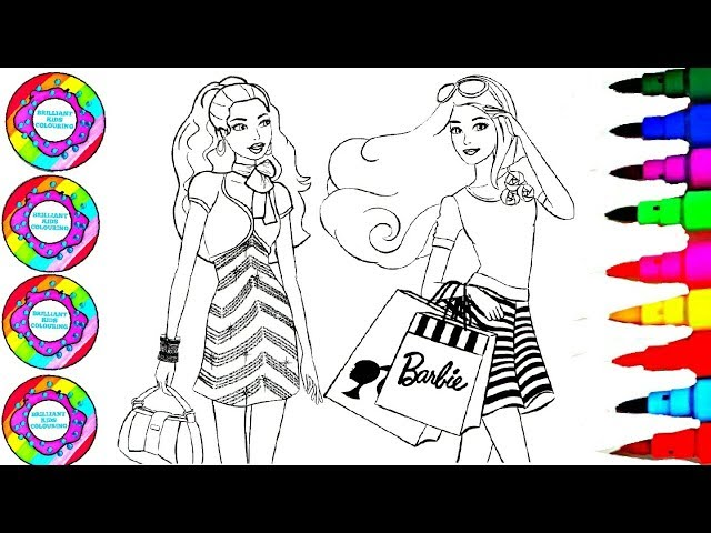 Drawing and Colouring Barbie with Rainbow Gemstones Shopping Bag Coloring Pages