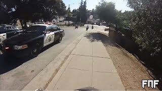 Police chase quads, sportbikes, cruisers, and dirtbikes through Oakland CA