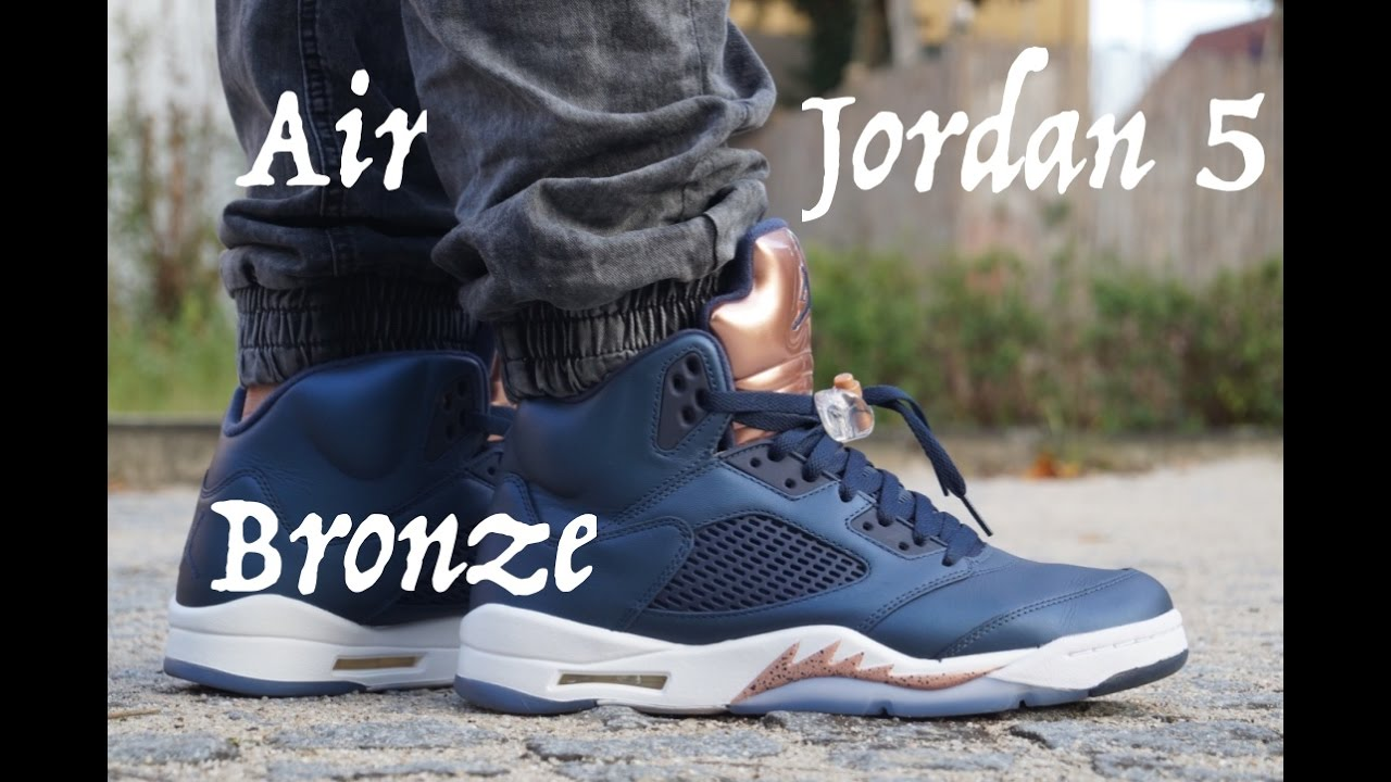 9cba6e184c14 Nike Air Jordan 5 Bronze on feet - YouTube